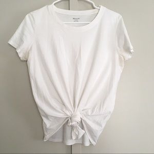 Madewell Knotted White Basic Tee Flattering Cute!